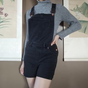 ICHI Black Denim Overall Shorts